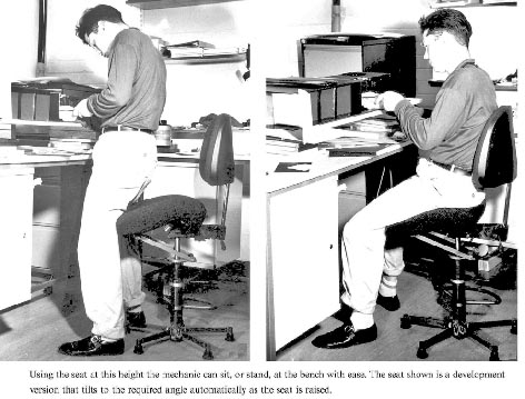 sit-stand chair patent seats users in a neutral posture, almost at standing position in comfort