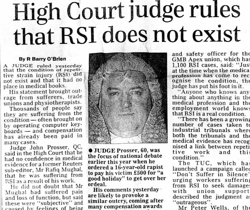 Newspaper clip: High court rules that RSIs do not exist